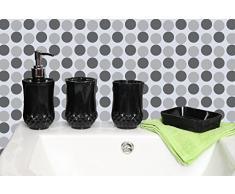 Premier Housewares 1601509 Cristallo Set de 4 Accessoires de Salle de Bain Plastique Noir