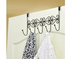 Patère de Porte à 5 Crochets en Fer pour Serviette Chapeau Sac Vêtement (Noir)