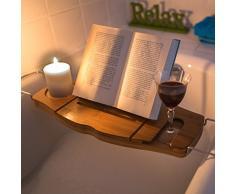 Relaxdays Pont de baignoire Plateau de bain en bois de bambou Porte-livre porte-verre porte-bougie H x l x P 17,5 x 70 x 21,5 cm douche salle de bain détente, nature