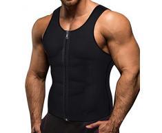 Memoryee Sauna Sweat Zipper pour Hommes pour la Perte de Poids Chaud Néoprène Corset Taille Formateur Body Top Shapewear Minceur Chemise Costume dentraînement/Noir/3XL