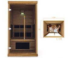 Cabine de Sauna Infrarouge Sawo pour 1 Personnes en Cèdre 230V 1N ~ Installation Plug and Play Basse Consommation d'énergie 1400W IR-1012LS-D