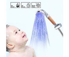 Oummit Douchette led de salle de bain Pomme de Douche Lumineuse contrôlée par la température,économise de l'eau et de l'énergie.【Grande Taille】
