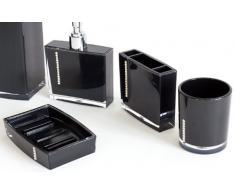 Hukitech Élégant set de salle de bain WC avec du strass /5 pièces/distributeur de savon/Porte Brosse à Dents/Gobelet/Brosse WC/Porte-savon/en plastique incassable/Couleur Noir