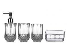 Premier Housewares 1601510 Cristallo Set de 4 Accessoires de Salle de Bain Plastique Transparent