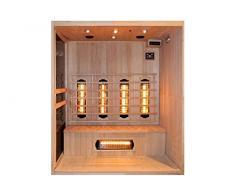 Levi 4 fullspektrum & 4 personnes avec cabine sauna infrarouge pour 2 personnes 800 w et de nombreux extras : projecteur iR-iRB et iRC a fULL spectre