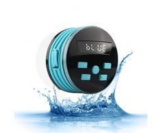 Expower Bluetooth Enceinte Radio de Douche 5W IPX7 Mini Haut-parleur Portable avec FM Radio Étanche pour Douche Camping Voiture Voyage,Bleu