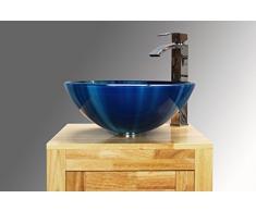 Charmant Salle De Bain Lavabo Vasque Mixte Bleu En Verre Bassin évier