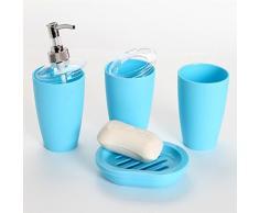 Pixnor 4 pièces salle de bain accessoire Set distributeur gobelet brosse à dents porte-savon (bleu ciel)