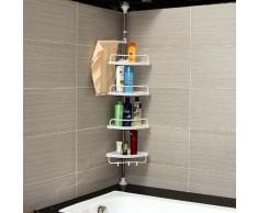 Songmics 120-300 cm Etagère d'angle télescopique salle de bains avec 4 tablettes et crochets BCB002