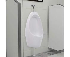 vidaXL Urinoir Mural avec Système de Rinçage Urinoir Suspendu avec une Valve de Chasse Salle de Bains Toilette Adultes Hommes Intérieur Céramique