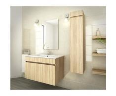 Luna salle de bain complete simple vasque 80 cm - décor oak sonoma