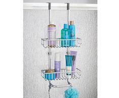 mDesign Serviteur de douche à suspendre – Installation de l'étagère de douche sans perçage – Valet de douche en aluminium à accrocher pour tous les accessoires de douche (shampoings, rasoirs, etc.)