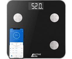 Active Era Balance Pèse-Personne Avec Application Connectée et 15 Caractéristiques (BMI/BFR/Muscle/Eau/Graisse Corporelle/Masse osseuse/BMR etc) - Noir