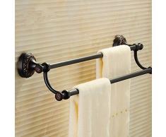 Towel bar lzzfw lzzfw Serviette de Bain à Double Tige de Batterie de Salle de Bain en Fer forgé Porte-Serviettes en cuivre en Towel, A