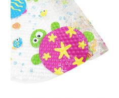 antidérapant Tapis de bain, Topsky Tapis de bain Tapis de douche avec ventouses lumineux Dessin animé Imprimé pour enfants Tapis, 39 x 69 cm (Coloré Océan)