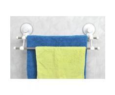 Tendance - Porte serviette 2 barres/ventouses blanc