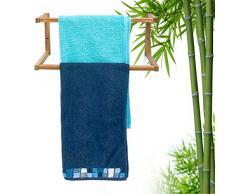 Relaxdays Porte-Serviette Mural avec 2 Barres de séchage en Bambou HxlxP : 19 x 44 x 20 cm support pour serviettes de bain fixation murale salle de bain serviteur de chambre porte-manteaux, nature
