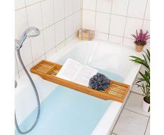 Relaxdays Pont de baignoire en bambou HxlxP : 5,5 x 70 x 16,5 cm avec 3 compartiments pour le savon, crème bougie ou verre, nature