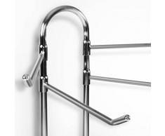 Porte serviette sur pied casa pura® Pacific | 4 barres mobiles de 36 cm | chrome | idéal salle de bain | 90 cm de haut