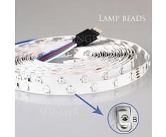 Minger Bande LED 10 mètres/32.8ft 5050 SMD Ruban à LED Flexible RVB Bande Lumineuse 600 LEDs Eclairage Kit + 24V 6A Alimentation (Non étanche)