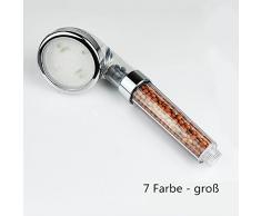 Luniquz Pommeau de Douche à LED Filtration Tête de Douche Lumineux Douchette avec 7 Couleurs Changeantes Augmentation de Pression de l'Eau(Grand)