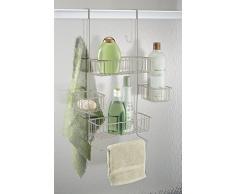 Panier de douche mDesign à suspendre sur la porte pour shampooing, revitalisant, savon - Satin