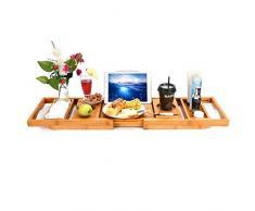 Baignoire de luxe en bambou avec étagère de douche et bac de rangement, plateau de baignoire, pied de support de pont, côtés extensibles intégrés à une tablette de lecture intégrée à Wineglass Home Sp