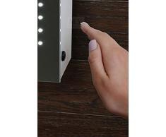 MY-Furniture - Miroir de salle de bain avec éclairage LED, IP44, capteur de mouvement, sytème de désembuage et prise rasoir - L:700 x H:500 mm - REFLEX