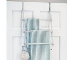 mDesign porte-serviette sans perçage – porte-torchon pour salle de bain à suspendre – accroche torchon avec 3 barres et crochets pour éponges ou gants de toilette – aluminium