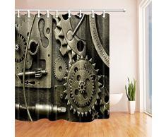 Révolution industrielle Décor Vapeur Gear Tissu Polyester Rideaux de douche imperméable à l'eau de bain Rideau 70,8 X 70,8 en Rideau de douche Crochets inclus