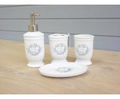 Clayre & Eef 61719 Set d'accessoires pour salle de bain Le Bain avec imprimé angélique
