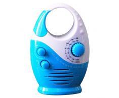 Spachy Radio de Douche étanche AM FM pour Salle de Bain avec Haut-Parleur Portable alimenté par Batterie Volume réglable, Blanc/Bleu, Taille Unique