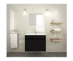 LANA Ensemble de meubles de salle de bain : vasque + miroir + meuble sous-vasque 60 cm - Noir mat