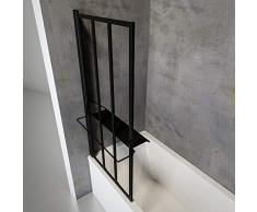Schulte pare baignoire pivotant avec tablette et porte-serviettes, paroi de baignoire rabattable avec traitement anti calcaire, écran de baignoire noir, 1 volet pliant, 75x140 cm