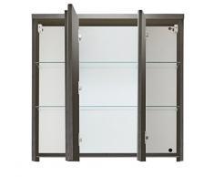 Trendteam ado50121 Meuble miroir salle de bain fumée Argent, L x H x P 80 x 72 x 21,5 cm
