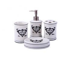 Kit pour salle de bain motif cœur, maison de campagne, accessoires, distributeur de savon, brosse de WC, céramique, lilas, 4 er Set