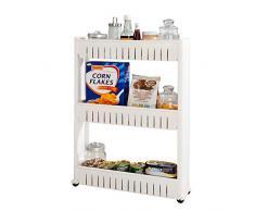 SoBuy FRG40-W Étagère de Niche à Roulettes Meuble de Rangement Cuisine Salle de Bain Chariot Placard Alcôve - 3 Étages Blanc