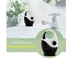 Alicer Haut-Parleur de Douche Bluetooth étanche avec Radio AM/FM, Mini Lecteur de Radio de Douche avec Volume réglable, Weiß und Blau, Free Size