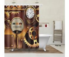 Bateau à vapeur Rideau de douche Décoration intérieure, montre mécanique, équipement, imperméable en tissu polyester Ensemble rideau de douche avec crochets, 150W x180H CM (60 x72 pouces)