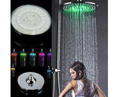 Pommeau De Douche Lumineux Flash, 7 couleurs Pommeau De Douche Ronde De Salle De Bain Rainfall LED RVB Flash