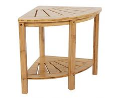 lyrlody Tabouret de Bain, Chaise de Salle de Bain Bambou Coin Tabouret de Douche siège Tabouret de Douche en Bois Spa Baignoire Organisateur Coin Tabouret de Table avec étagère, 38 x42 x 38 cm