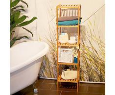 Relaxdays Étagère de salle de bain avec 5 niveaux HxlxP: 140 x 34 x 34 cm en bois naturel en Bambou Rangement sur pieds pour la salle de bain et cuisine cave garage espace, nature