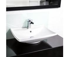 TecTake Lavabo à poser en céramique vasque rectangulaire salle de bain d'Angle | blanc (Type 1 Lavabo en céramique | no. 402374)