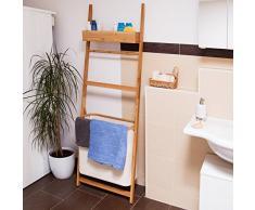 Relaxdays Étagère de salle de bain échelle en bambou avec panier à linge amovible sac à linge 72 litres barre porte-serviette HxlxP: 180 x 61 x 29 cm meuble rangement en bois mur, nature