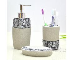 hongs Gravure motif floral Accessoires de salle de bain ensemble, 5 pièce ensemble de bain, Set de Bain Collection Distributeur de savon, porte brosse à dents, Gobelet, Savon dish- Gris Mosaïque