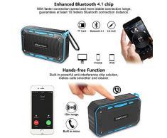 Enceinte Bluetooth Portable Waterproof IP67 avec FM Radio - Deepow Haut Parleur Bluetooth 4.1 10W Radios de Douche Entièrement étanche avec 2600mAh Batterie,Support TF Carte, AUX Line-In et Mains Libres Téléphone,Parfait pour Plage, Piscine et Cuisine