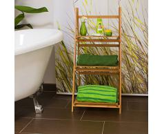 Relaxdays 10018983 Étagère echelle escalier en bambou 3 étages pliable salle de bain salon rangement bois HxlxP 100 x 45 x 33 cm, nature