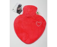 Hugo Frosch - Bouillotte velours rouge avec coeur brodé argenté