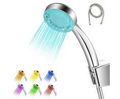 Pommeau de douche lumineuse 7 couleurs salle de bain avec flexible, douchette de douche LED économie d'eau ABS surface chromée