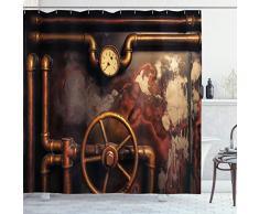 ABAKUHAUS Industriel Rideau de Douche, Canalisations de Vapeur, Tissu Ensemble de Décor de Salle de Bain avec Crochets, 175 cm x 220 cm, Orange foncé Umber